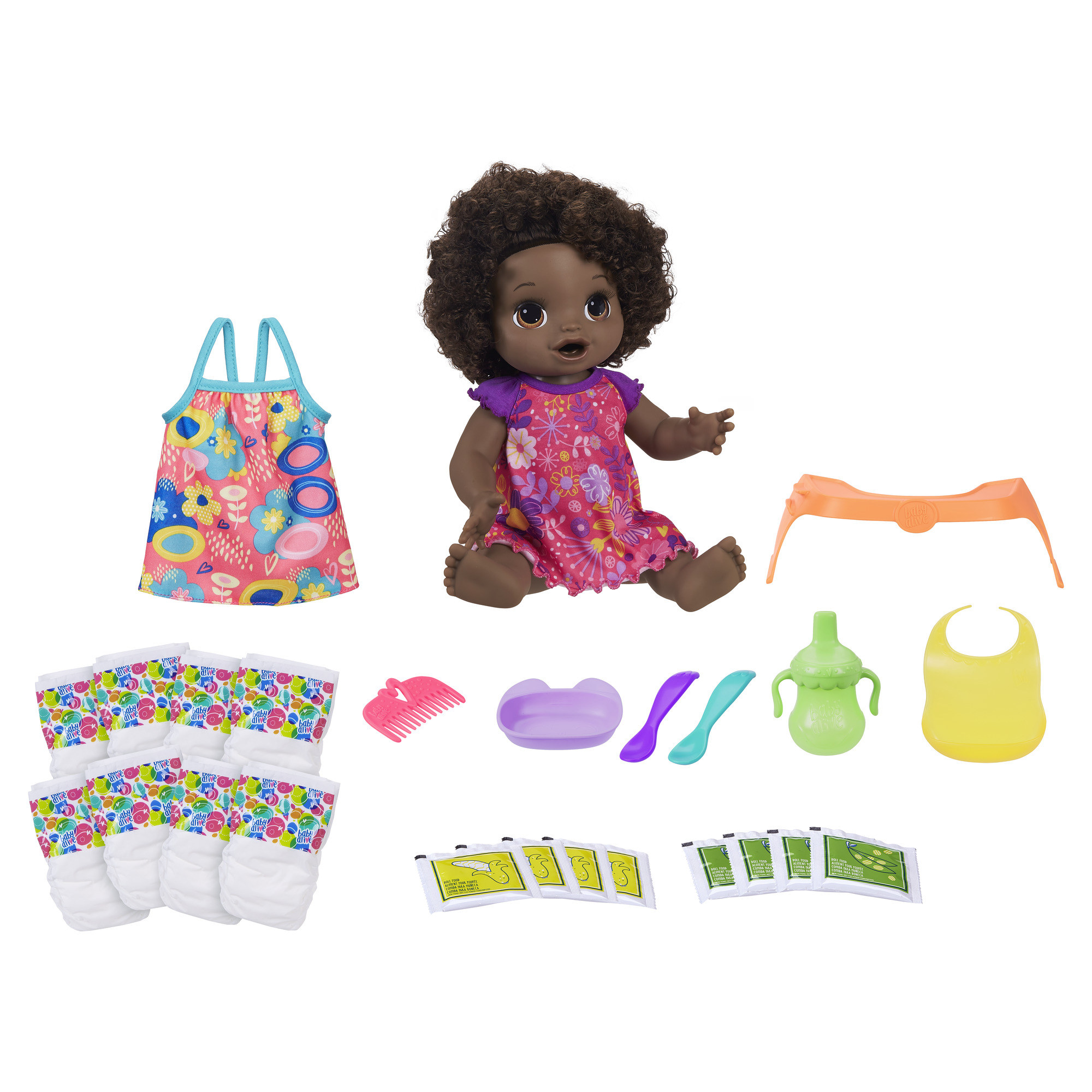 Baby Alive Happy Hungry Baby Black Curly Hair 50 Sounds Eats Drinks Walmart Com Walmart Com