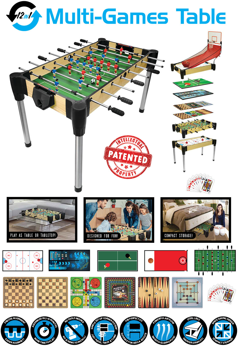 Ambassador 48 12 In 1 Combination Game Table