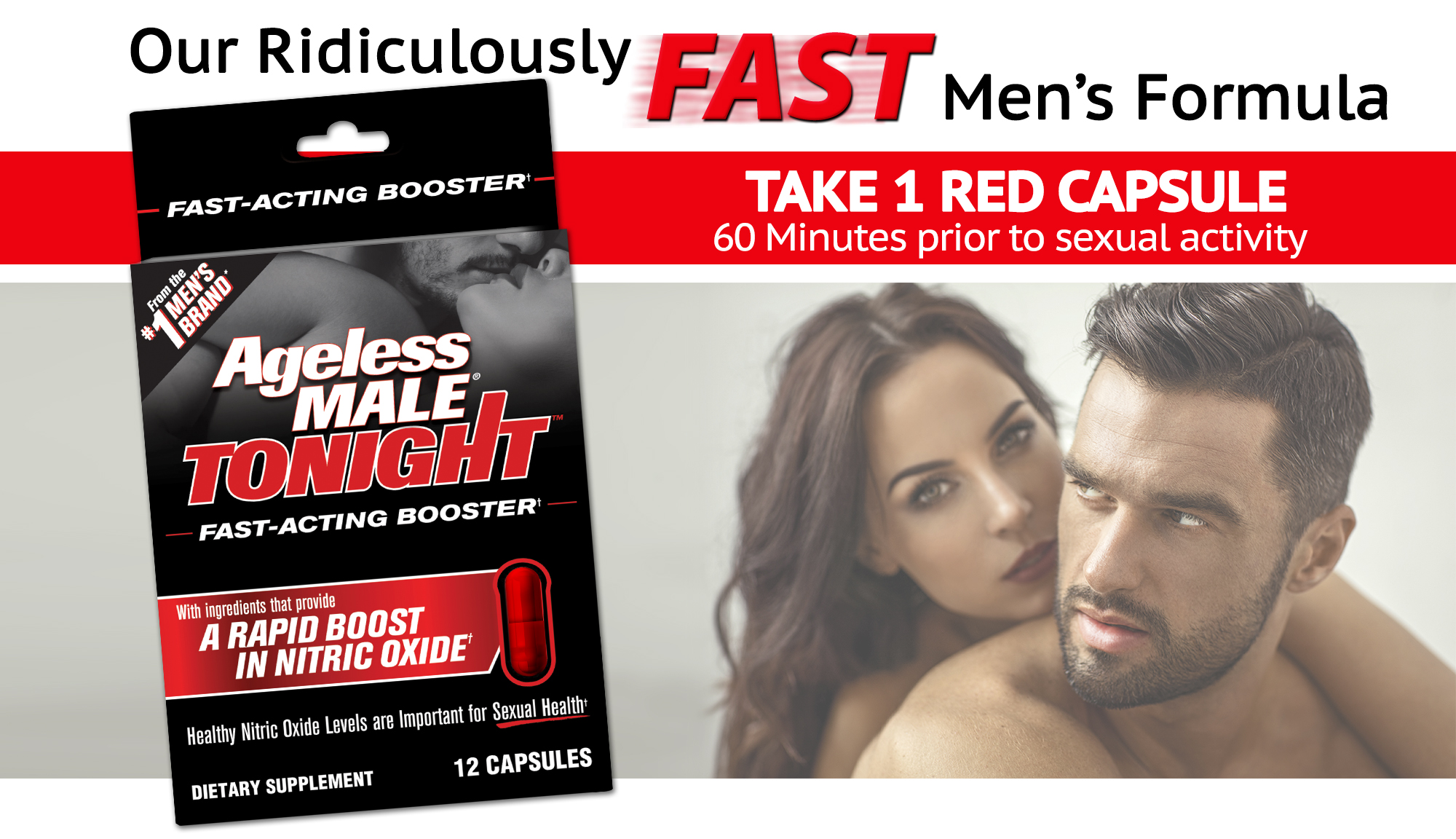 Ageless Male Tonight Rapid Nitric Oxide Booster, 12 Doses
